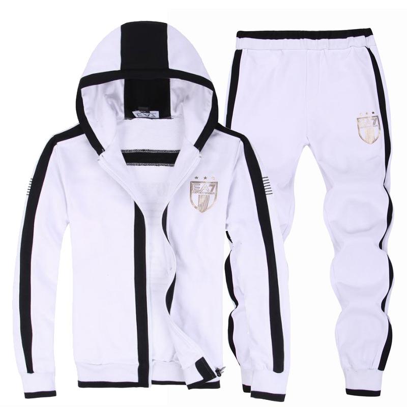 2014 armani e7 survetement hommes business cotton discounts blanc noir 557d660b615
