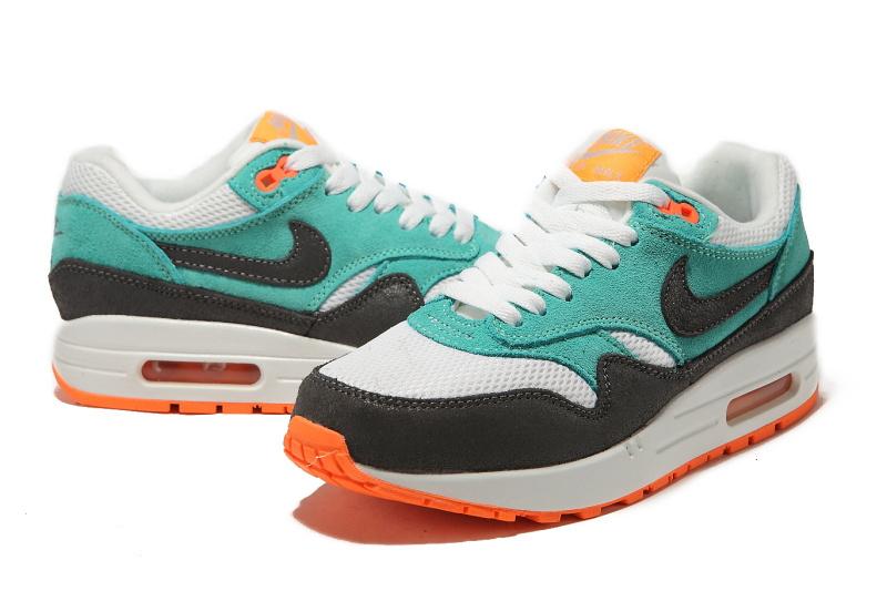 sports shoes 2a011 ad4ba new style nike air max 87 leather blanc gris bleu orange,les baskets air  max 87 cuir de nike nouveaux,arrivee rapidement est haute qualite bas prix