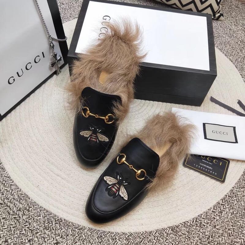 2e55013b13f4 gucci chaussures cuir fourrure lapin paquet pied velours slippers electric  rust honeybee