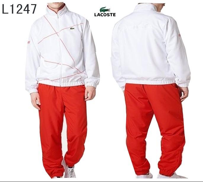 40ec5b70100 hiver automne lacoste 2014 sport wear survetement hommes l1247 blanc rouge
