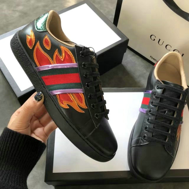 dc68bb9609c nouveau gucci chaussures femmes soldes cowhide flame black nouveaux ...