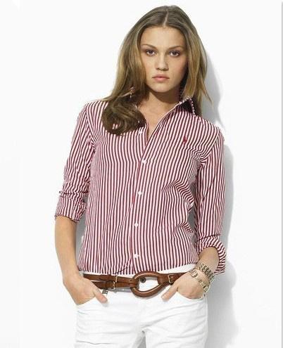 ralph lauren chemise sport femmes longe rouge,