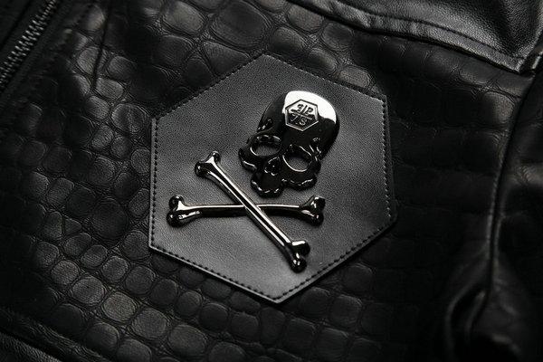 veste philipp plein leahter cuir pas cher schadel black nouveaux arrivee rapidement est haute. Black Bedroom Furniture Sets. Home Design Ideas